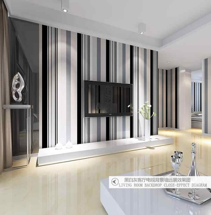 Modern Black And White Grey Vertical Stripes Wallpaper TV ...