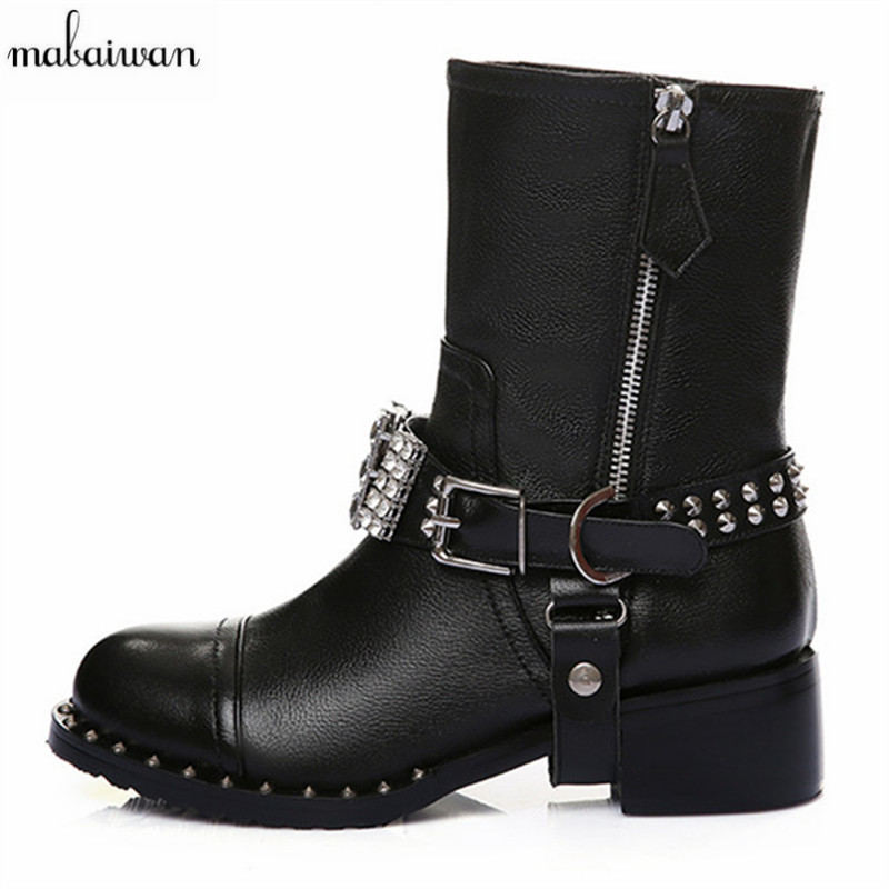 2016 New Fashion Women Shoes Flats Black Buckle Ankle Boots Rivets Zipper Winter Autumn Women Boots Zapatos Mujer Martin Boots new black martin shoes fashion spring women shoes flats casual oxford shoes female obuv zapatos mujer