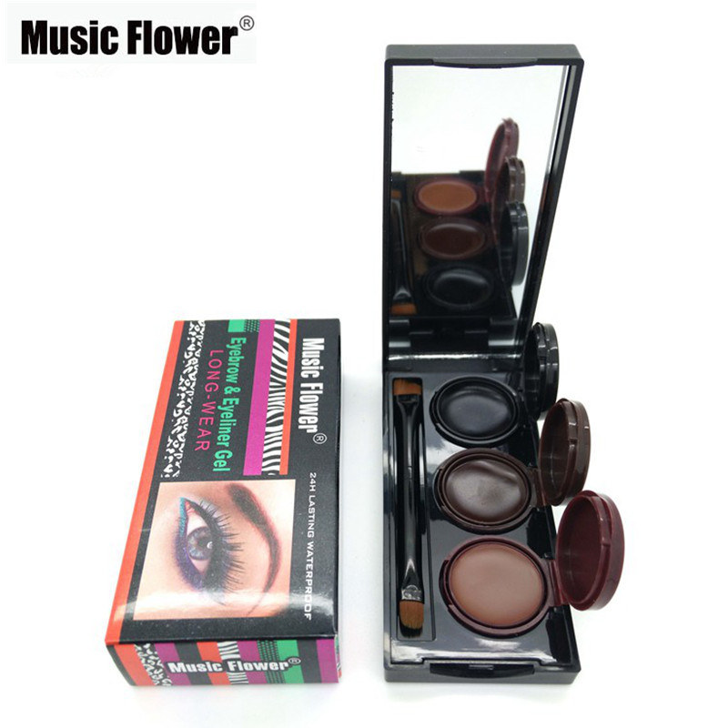 2018 Music Flower Marka Makeup Eyeliner Gel & Brew Powder Palette Waterproof Trwałe Smudgeproof Cosmetics Eye Brow Enhancers