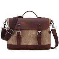 LAPOE Men Messenger Bags Waterproof Canvas Men Vintage Handbags Travel Shoulder Bags Computer Laptop Briefcase Business