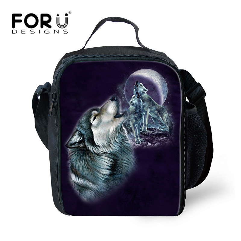 FORUDESIGNS Cool Animal Wolf 3D Printing Lunch Bags Insulated Outside Picnic Food Lunch Box for Kids Boys School Food Bags Bolsa