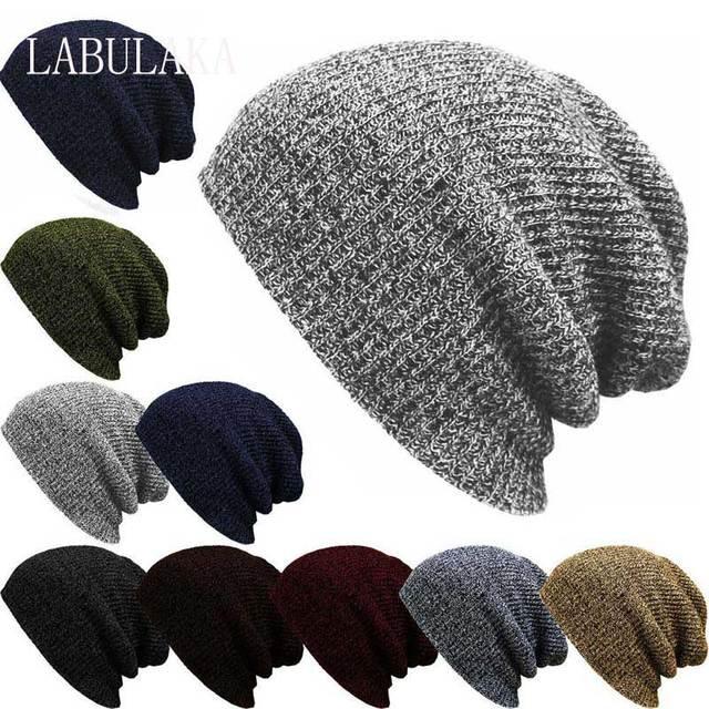 3574272f7c74b Men's Fashion Baggy Beanie Oversize Women Winter Warm Hat Ski Slouchy Chic  Crochet Knitted Cap Skullies