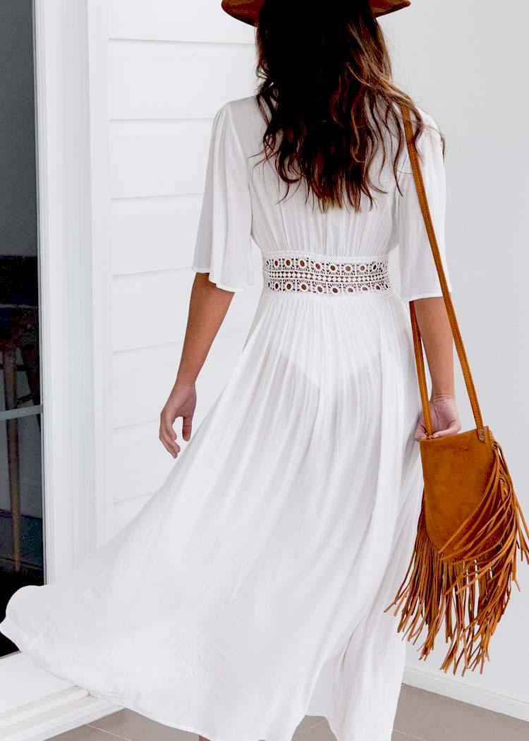 HTB1lxMVXzihSKJjy0Flq6ydEXXaG - Boho Women's Summer Holiday Beach Suit Kaftan Dress Half Sleeve V-Neck Sexy Loose Hollow Out Dress