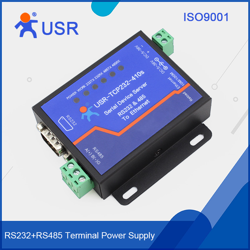 USR-TCP232-410S RS232 RS485 Port Serial To Ethernet Converter With ModBus RTU To ModBus TCP And CE FCC RoHS hightek hk 5110a industrial grade 1 port rs232 485 to 4 port rs485 hub each port with optical isolation 600w thunder protection