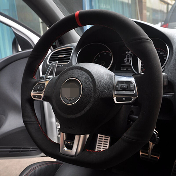 Red Marker Black Suede Car Steering Wheel Cover for Volkswagen Golf 6 GTI MK6 VW Polo GTI Scirocco R Passat CC R-Line 2010
