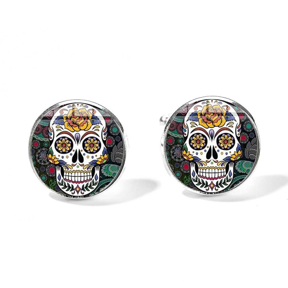 SIAN мексиканский милый Череп Запонки гипербола стиль скелет дизайн стекло кабошон Посеребренная манжета ссылки День мертвых подарок
