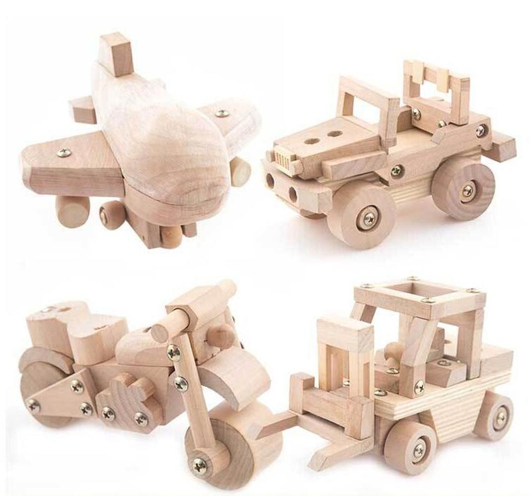 6 Styles Wooden Building Block Kids Educational Model Motorcycle Plane Tanker Truck Car Toys Kids Best Gifts for Children No Box
