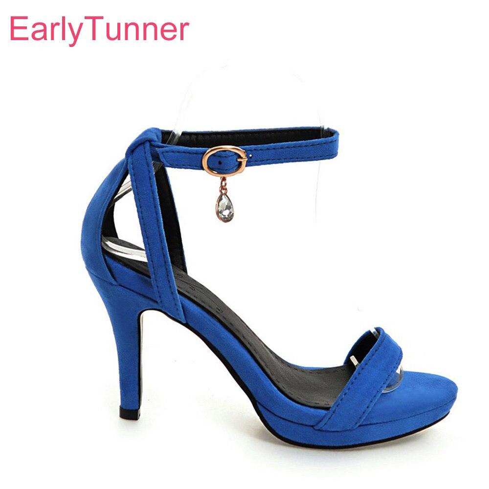 Brand New Hot Summer Elegant Red Blue Women Platform Nude Sandals Black Lady Party -4686