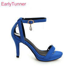 Brand New Hot Summer Elegant Red Blue Women Platform Nude Sandals Black  Lady Party Shoes High Heels EH168-2 Plus Big Size 10 43 5bcfb0a09d00