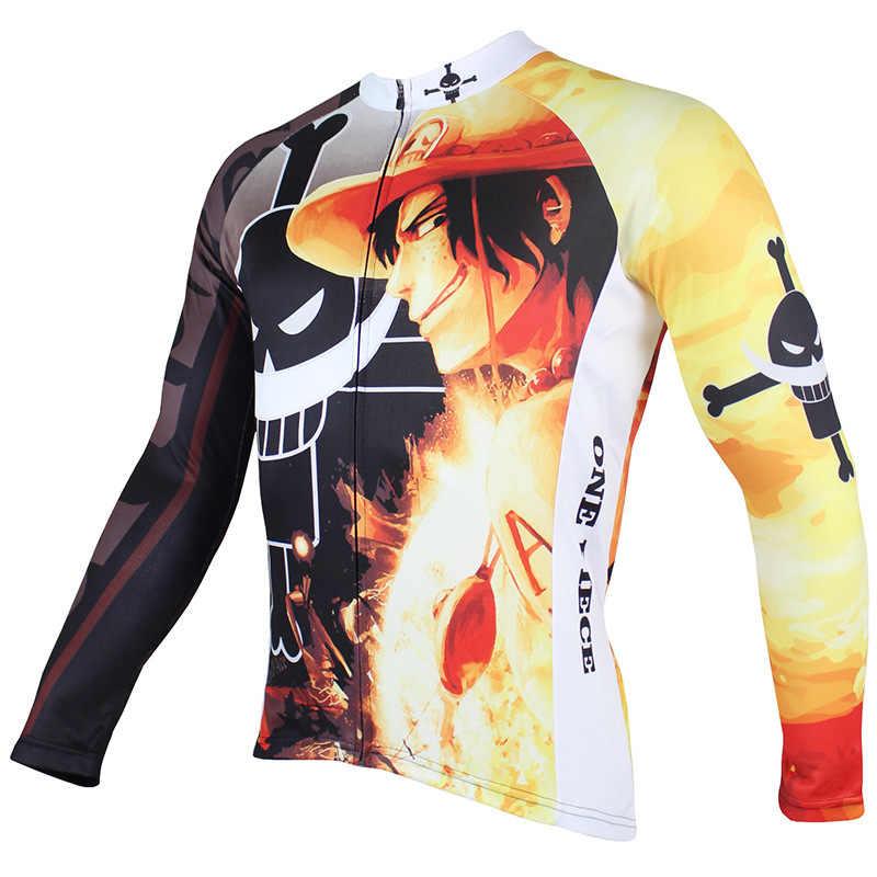 One Piece Portgas D Ace Cycling Jersey Blaxk Cartoon Bike jerseys for boys 3xl Long Sleeve Bicycle Clothes