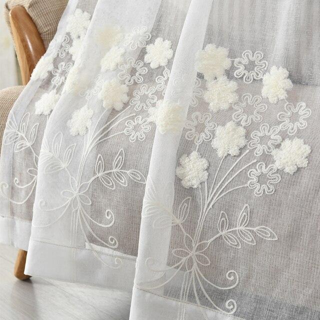 Acheter byetee coton et lin blanc brod voile pastorale salon - Rideau coton blanc brode ...