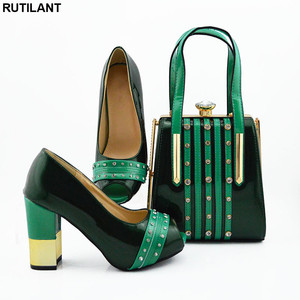 Image 2 - New Italian Designer Shoes and Bags Matching Set African Women Shoes Bags Set  High Heel Women Party Pumps Elegant Crystal Shoes