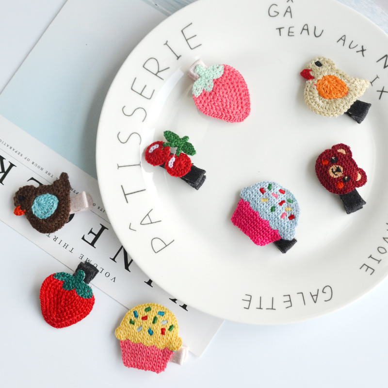Boutique ins 40pcs Fashion Cute Cherry Strawberry Cupcake Bird Bear Hairpins Crochet Animal Fruit Hair Clips
