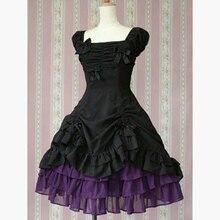 Nette schwarz und lila cocktail dress japanischen stil schürze dress ballkleid rüschen formale party kleider kurze prom kleider