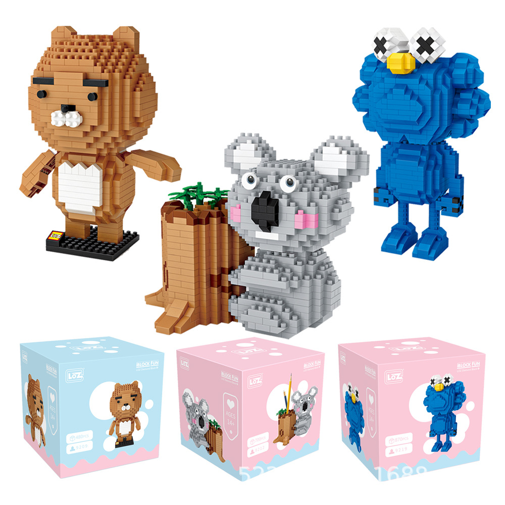LOZ Blok Kartun Hewan Beruang Anime Lion Gambar Biru Boneka Koala Pen Holder Blok Bangunan Mencerahkan Mikro Bata Mainan Lucu