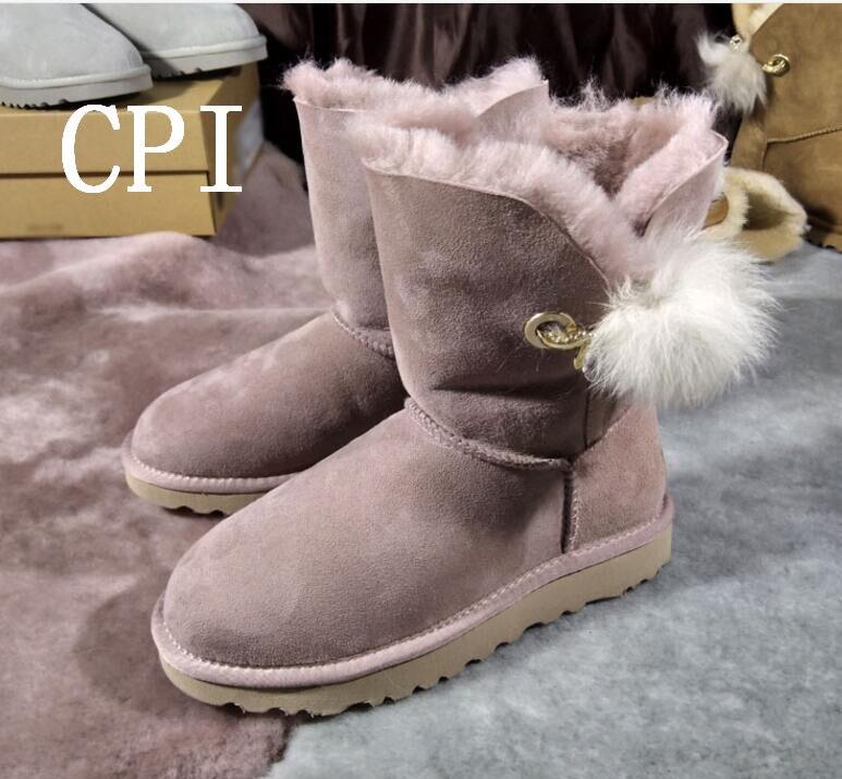 Фото Brand Women Crystal Rhinestone and Fur Brooch Fur Ball Sheepskin Genuine Leather Fur Boots Black Winter Snow Boots 33/44