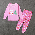 Long Sleeve Santa Claus Pajamas Daughter Christmas Gift Pink Princess Sleepwear Casual Rpa De Nina Girls Pullover Clothing Sets