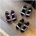 Летние Девушки кожаные Сандалии 2017 добрее Sandalen Детей Ccasual Сандалии Chaussures Enfants Filles Пляжные Мальчики Обувь Золотые Туфли