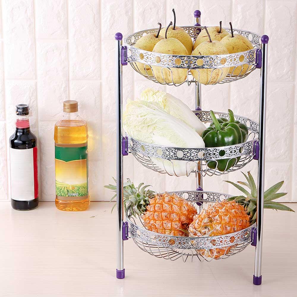 Fruit Storage Basket Rack Tray 3 Tiers Stainless Steel For Vegetable Bowl Lemon Multi Function Kitchen Rack Holder Tool