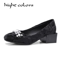 2019 Spring Female Footwear Square toe String Bead Shoes Big Size 33 43 Concise Ladies Casual Pumps Low Heels Women Shoes