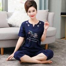 Hohe Qualität 100% Baumwolle Pyjamas Sets für Frauen 2020 Sommer Kurzarm Pyjama Weibliche Homewear Loungewear Frauen Home Kleidung