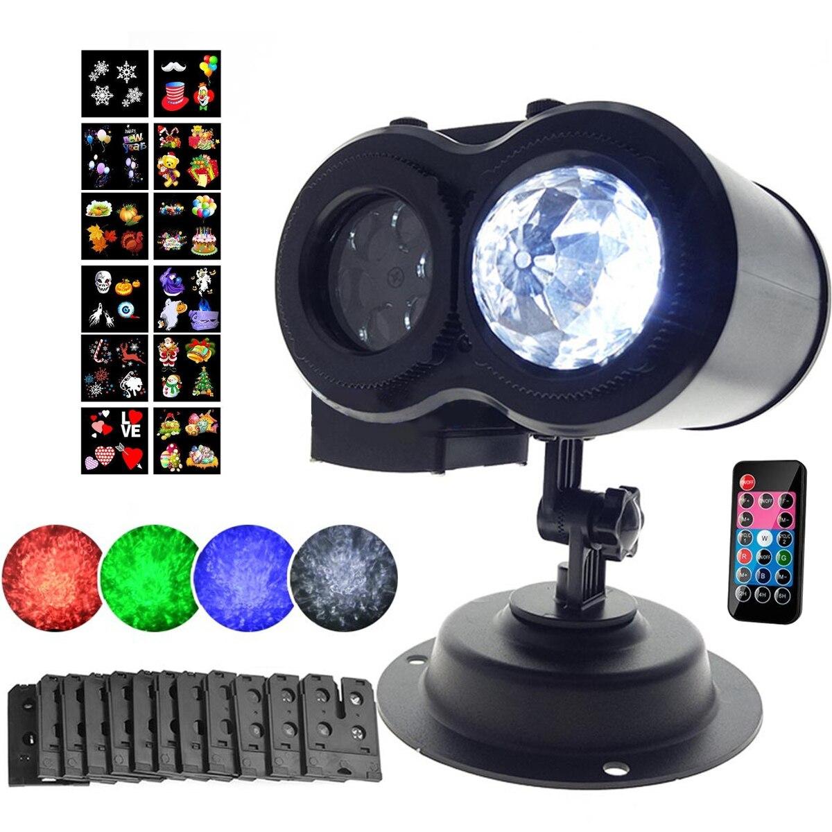 Светодио дный двойной лазерный проектор огни пейзаж лампа Рождество Хэллоуин KTV вечерние лампы Открытый Водонепроницаемый 12 моделей слайд...