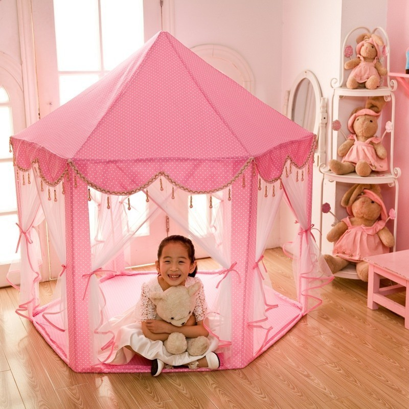 New Arrival Indoor Play Game Castle Cubby Tent Princess Foldable Toy Pink Tipi Have Fun House For Girls Children Best Gift children funny lucky game gadget joke toy projectile fun