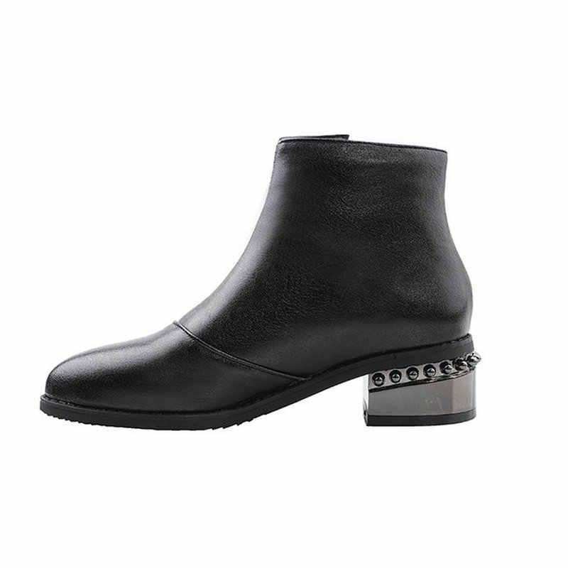 ESVEVA 2020 Kadın Ayakkabı Kış yarım çizmeler Siyah Moda Med Topuk PU Deri Sivri Burun Motosiklet Platform Çizmeler Boyutu 34- 43