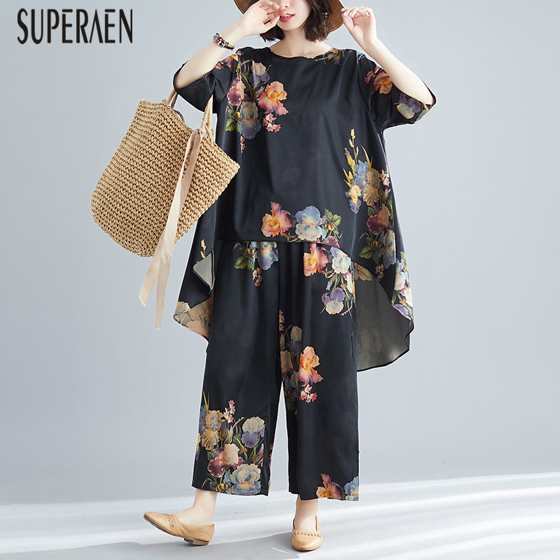 SuperAen Spring and Summer 2019 New Women Two piece Loose Pluz Size Casual Women Tops Elastic