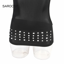 2018 New Erotic Black Open Bra Rhinestone Dress Sexy Lingerie for Women Hot Full Back Cut Outs with 2 Gloves Dress Set