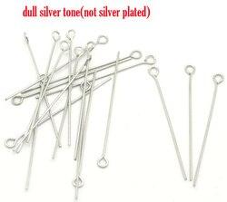 DoreenBeads Paslanmaz Çelik Göz Pimleri Gümüş Ton 4 cm (1 5/8