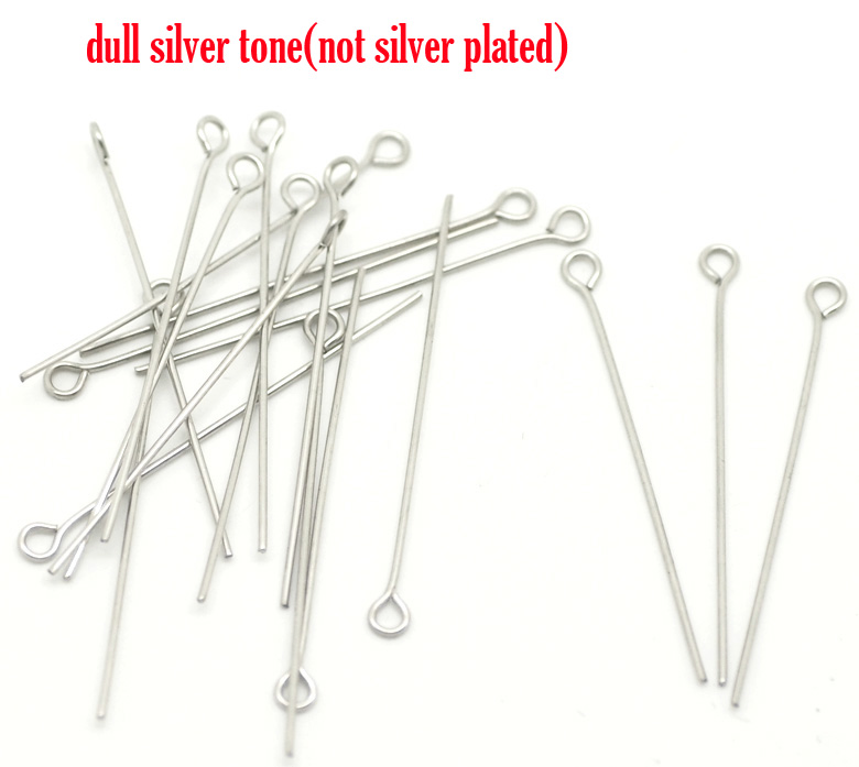 DoreenBeads Stainless Steel Eye Pins Silver Tone 4cm(1 5/8