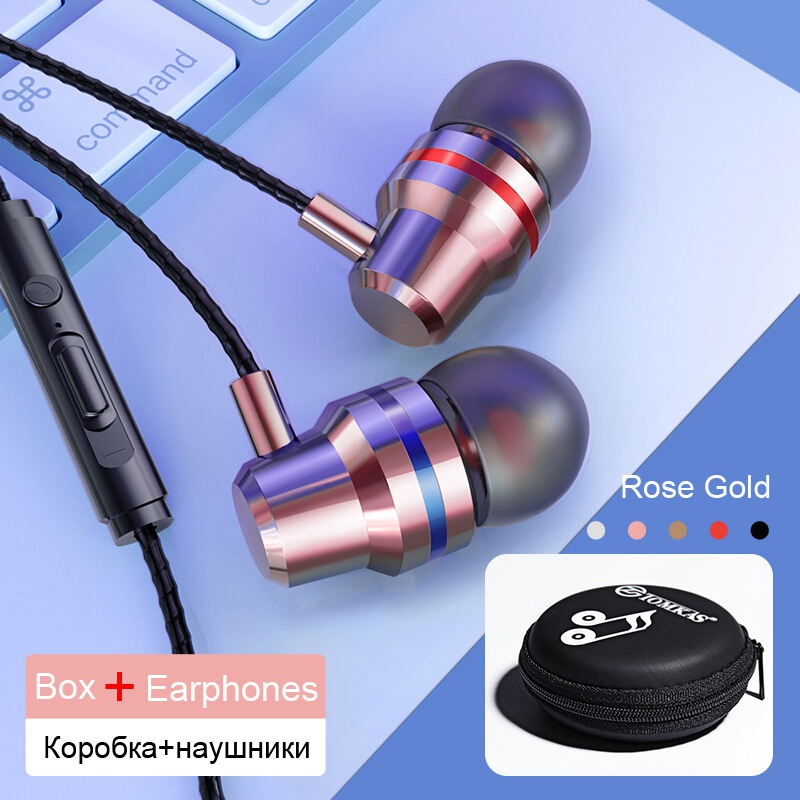 TOMKAS Wired Earbuds Headphones 3.5mm In Ear Earphone Earpiece With Mic Stereo Headset 5 Color For Samsung Xiaomi Phone Computer 25