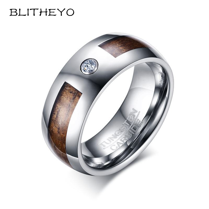 Blitheyo Unique 8mm Mens Tungsten Carbide Rings Wood Grain And Cz Inlay Wedding Band Men Fashion Jewelry Anel Bague In From Accessories On