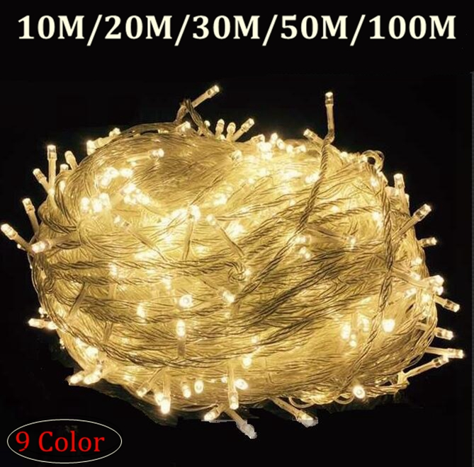 Waterproof Outdoor Home 10M 20M 30M 50M 100M LED Fairy String Lights Christmas Party Wedding Holiday Decoration Garland light zinuo 30m 50m 100m led garland ac110v 220v fairy string waterproof christmas lights outdoor for xmas wedding decoration