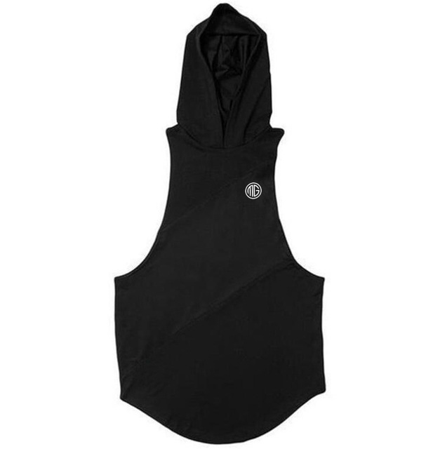 Bodybuilding Stringer Tank Top with hooded Mens Gyms Clothing Fitness Mens Sleeveless Vests Cotton Singlets Muscle Tankops 2