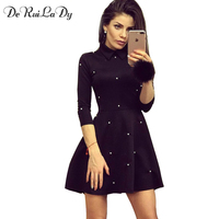 Female Pearl Embellished Party Dress Zip Fit Flare Women Sexy Black 3 4 Sleeve Skater Dresses