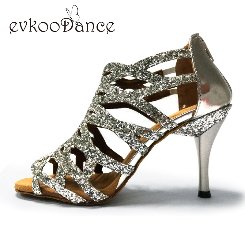 Skor dans latin 8.5cm Slim högklacka Läder mjuka såll Röd Svart Silver Rosa Ballroom Salsa Women Latin Shoes Sandaler NL008