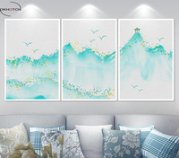 OKHOTCN Unframed 3 Pieces Set Water And Ink Painting Green Mountain Pavilion Ancient Chinese Painting Print