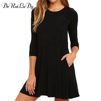 DeRuiLaDy Women Autumn New Dress 2017 Fashion O Neck Three Quarter Sleeve 100 Cotton Dress Casual