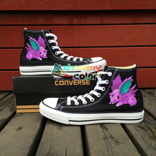 Pokemon Nidoran Design Converse All Star Men Women Shoes Hand Painted Sneakers Children Anime Gifts