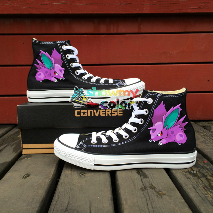 Pokemon Nidoran Design Converse All Star Men Women Shoes Hand Painted font b Sneakers b font