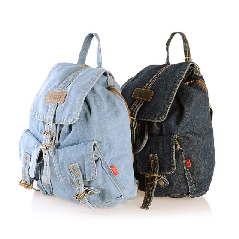 Classic Vintage Fashion Denim Jean Women Backpacks Retro Style Crossboday Bags Girls School Bags Travel Casual