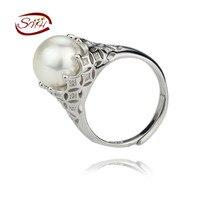 Snh 11mm 925 botón de plata 2016 perlas de agua dulce natural de los anillos de novia niza ajustable 925 ste