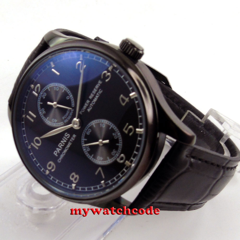 43mm parnis black dial PVD case power reserve automatic movement mens watch P262 все цены