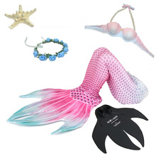 5pcs/set New Mermaid Tail with Flippers Bikini Swimmable Girl Women Cosplay Costume Tails for Swimming Adults Swimsuit