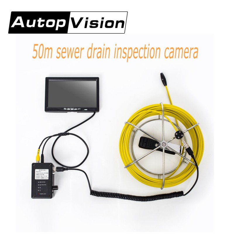free shipping 50M Cable Underwater mini camera 7 TFT LCD Sewer Pipeline Endoscope Inspection Snake Camera DVR Waterproof 6 Led