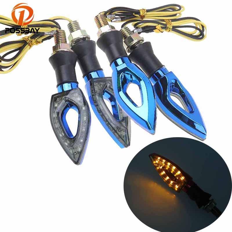 POSSBAY 4Pcs/Lot Flashing Motorcycle LED Turn Signal Light Indicator Light Blinker Flasher Light For Cafe Racer For Honda Yamaha