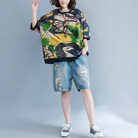 Gran tamaño Top patrón de impresión camisas de las mujeres más tamaño Batwing manga mujeres tops casual blusas feminina ver o lino blusa