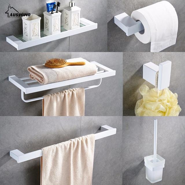 304 Paslanmaz çelik havlu askısı Boya Beyaz Banyo Donanım Paketi Havlu Çubuğu Kağıt Tutucu Rafları Banyo Aksesuarları YM146